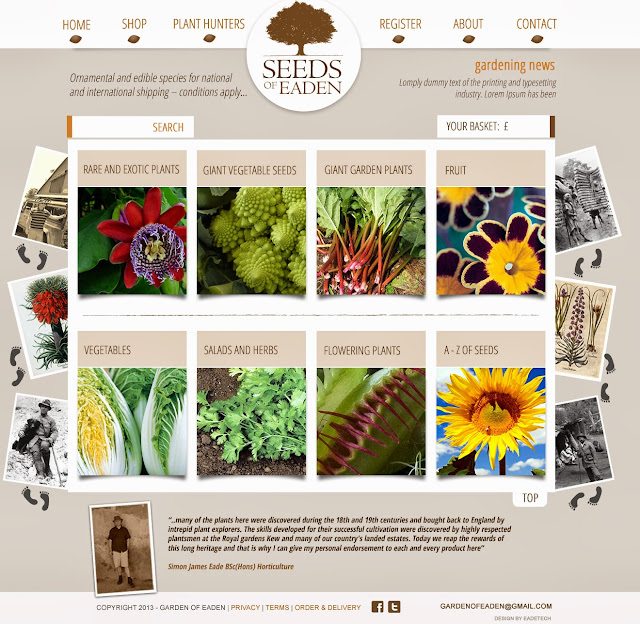 Seed shop image with a selection of vegetable and flower images