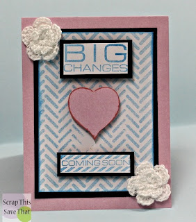 Unity Stamps, pink, blue, baby, expecting, Hearts, big changes, coming soon, chevron background