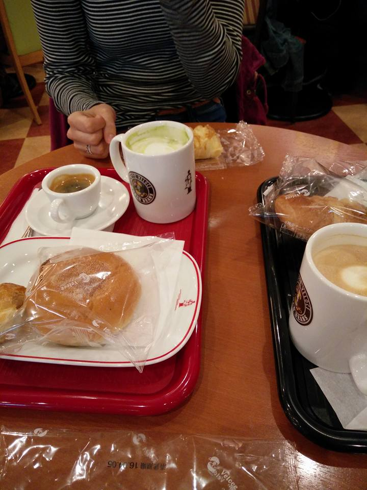 Red bean bun, ham and cheese croissants. Oh also coffee