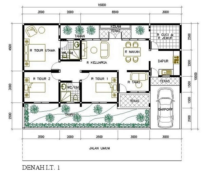 denah rumah 6x10m2 3 kamar moderen
