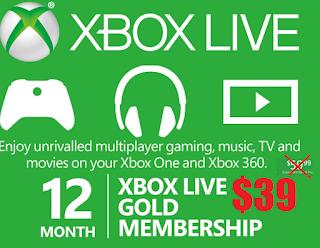 12-Month Microsoft Xbox Live Gold Membership Card $39 79
