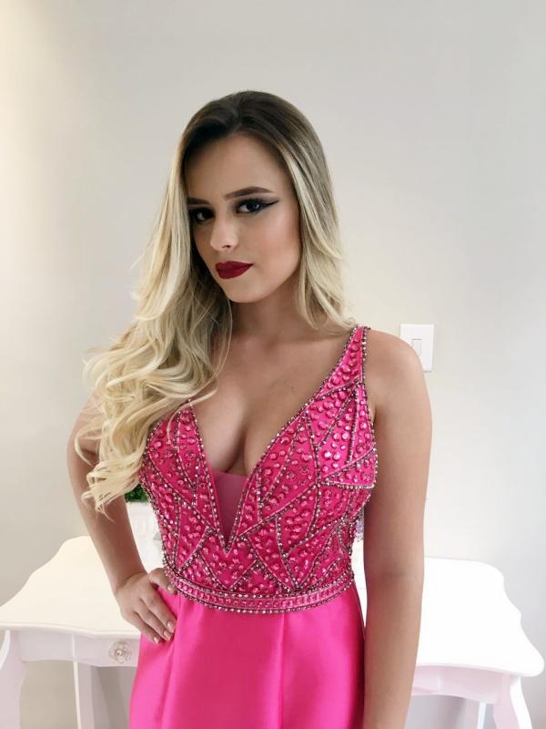 vestido de festa sereia pink