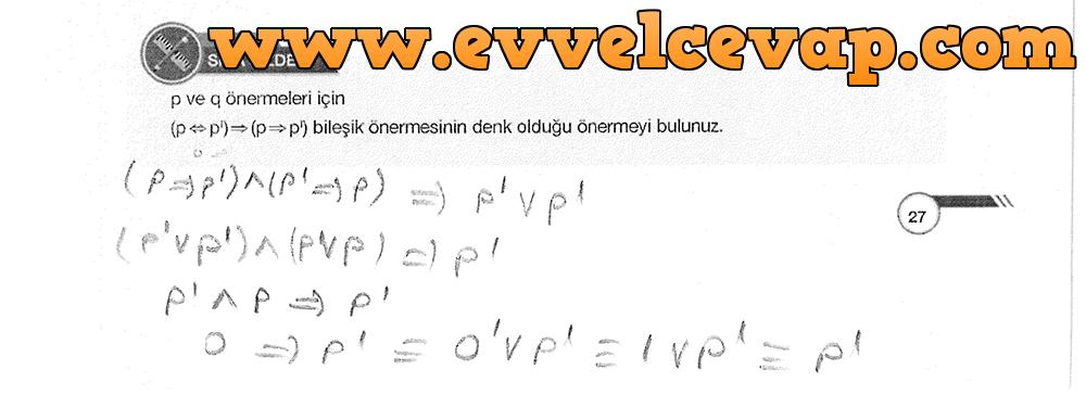 9. Sınıf Ödev Yayınları Matematik 27. Sayfa Cevapları