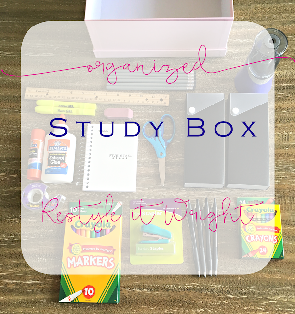 organizing homework study box for back to school