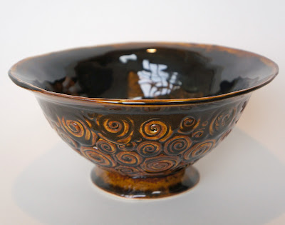 Hand built coiled pottery footed bowl by Lily L.