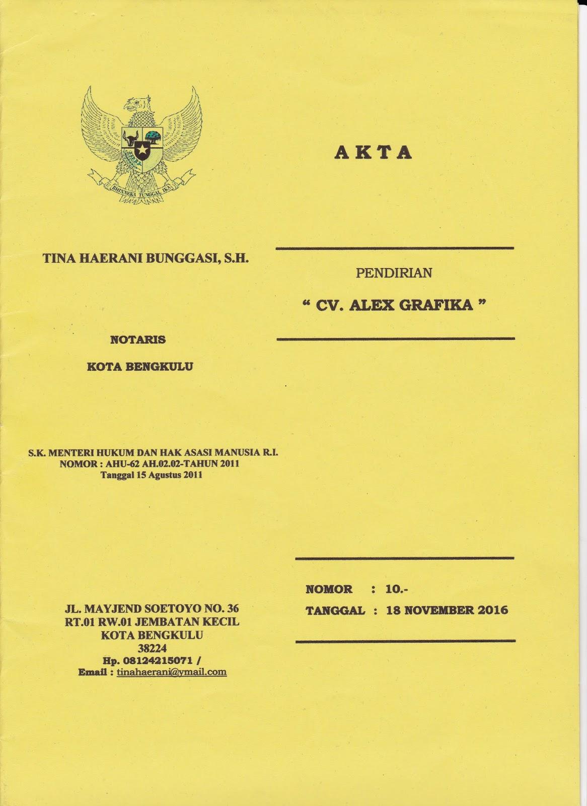 Akta Pendirian CV. ALEX GRAFIKA