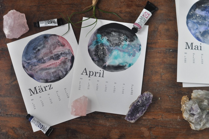beautiful DIY Calendar with watercolor galaxies and moons