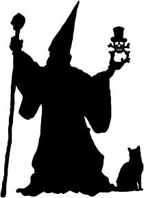 Un mago con un gato y una bola de cristal en la mano