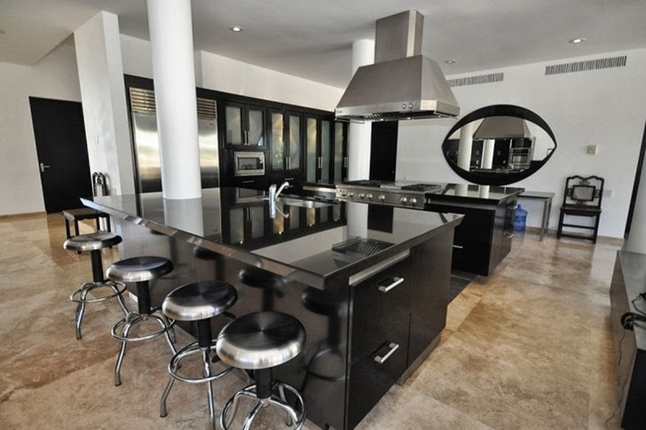 Huge black and white kitchen