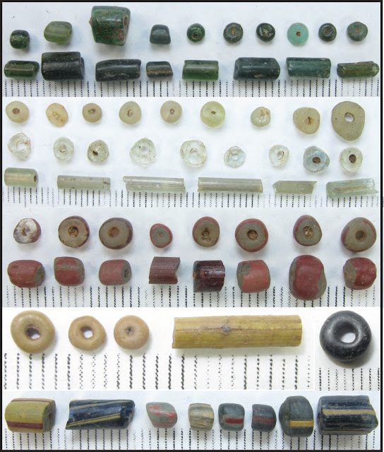 1,000 year old coloured glass beads discovered in West Africa