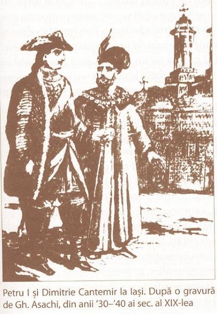 Petru I si Dimitrie Cantemir la Iasi - gravurã de Gh. Asachi