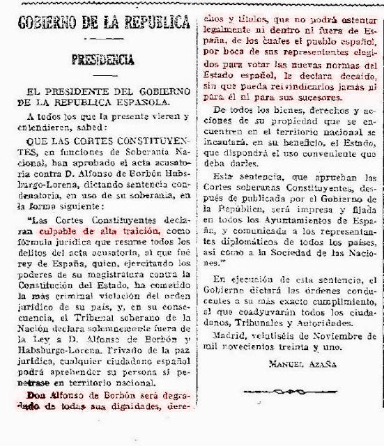 Alfonso XIII traidor a España