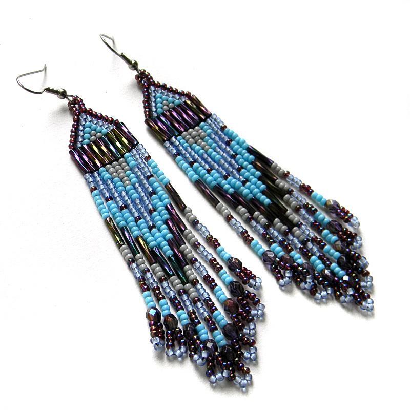 Seed bead earrings beaded jewelry beadwork fringe dangle earrings