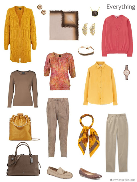 Tote Bag Travel capsule wardrobe in brown with gold and pink accents