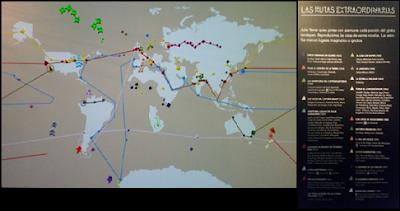 Mapamundi en el cual se representa, de forma animada, las rutas de las novelas de Julio Verne
