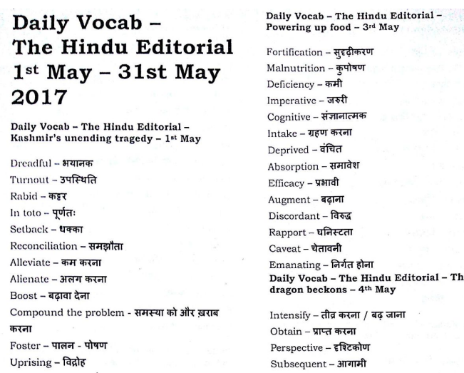 The Hindu Vocabulary Compilation of May 2017 in PDF - QMaths