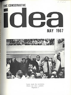 Image of cover of the May 1967 Conservative Idea. The cover image shows five African American students standing up in the crowd.