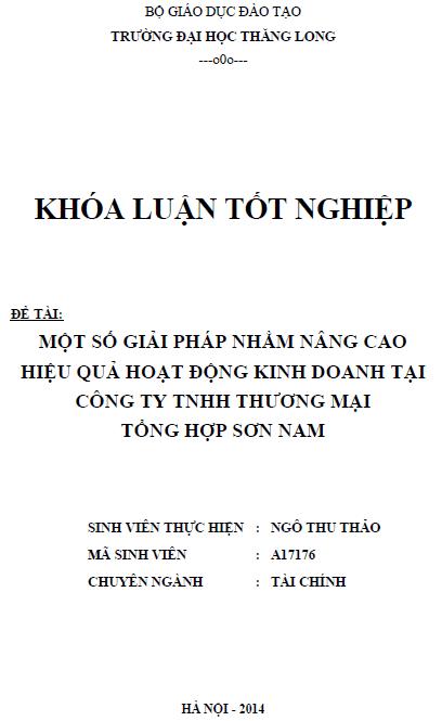 Một số giải pháp nhằm nâng cao hiệu quả hoạt động kinh doanh tại công ty TNHH thương mại tổng hợp Sơn Nam