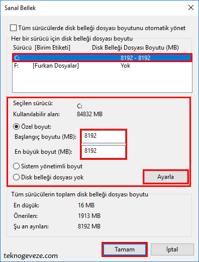 Windows 10 Sanal Bellek Ayarı Yapımı