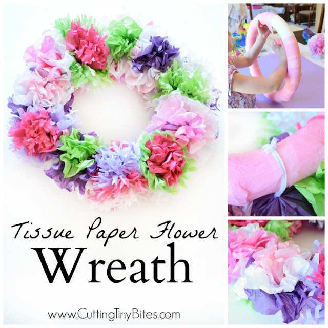 Tissue Paper Flower Wreath | What Can We Do With Paper And Glue
