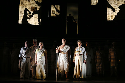Philip Glass: Satygraha - Nicholas Folwell, Clive Bayley, Anna Clare Monk, Toby Spence, Charlotte Beament, Stephanie Marshall - English National Opera (Photo Donald Cooper)