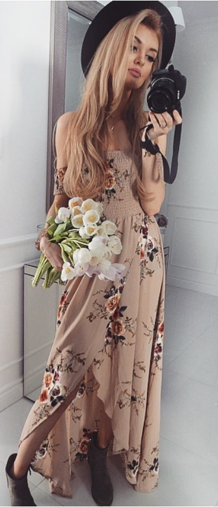 beautiful floral dress + hat