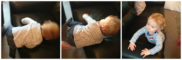 collage of 3 pictures of toddler getting onto sofa