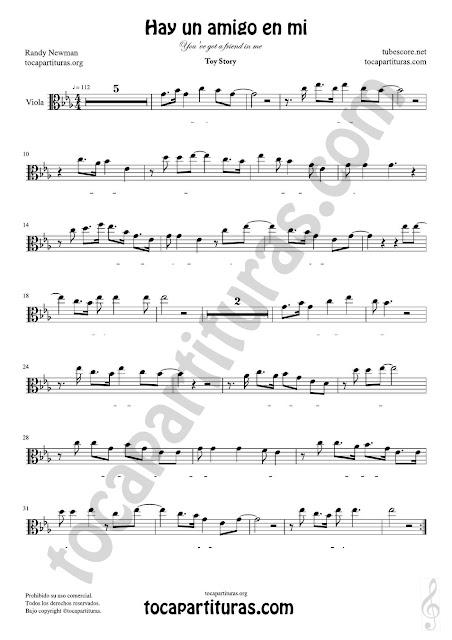 Viola Partitura de Hay un amigo en mi Sheet Music for Viola Music Score