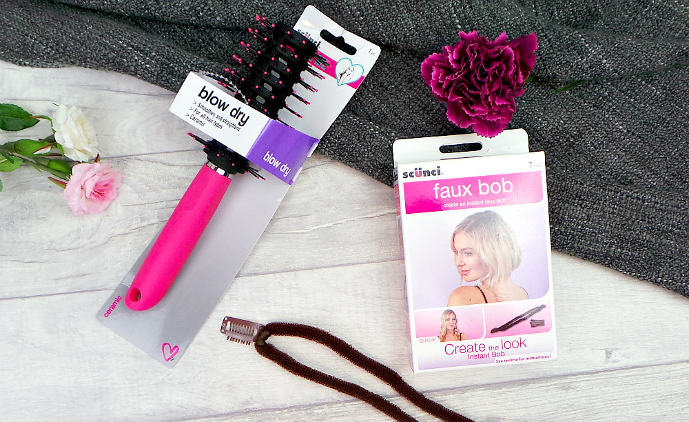 scunci hair brush and faux bob