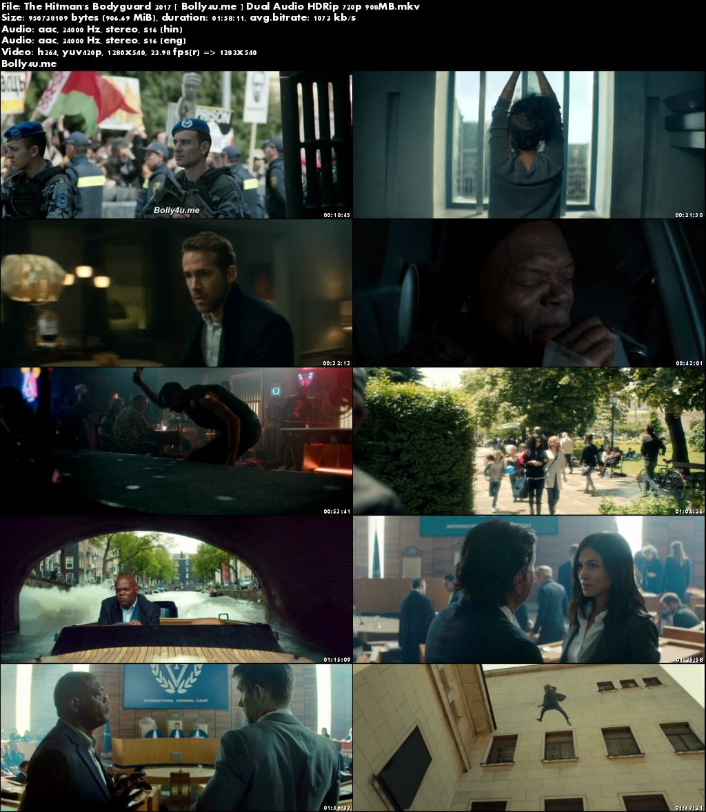 The Hitman's Bodyguard 2017 HDRip 900MB Hindi Dual Audio 720p Download