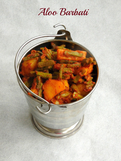 Aloo barbati, long beans potato stir fry