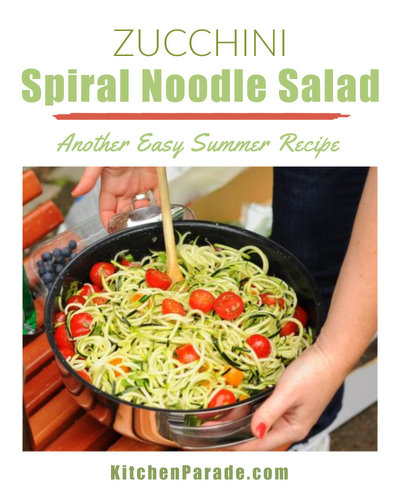Zucchini Spiral 'Noodle' Salad ♥ KitchenParade.com, a fresh summer salad, light and lovely.