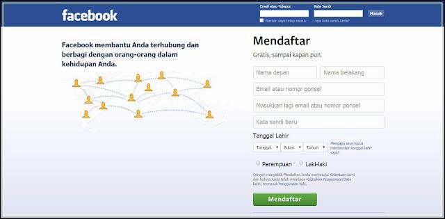 cara mendaftar facebook dengan cepat gambar