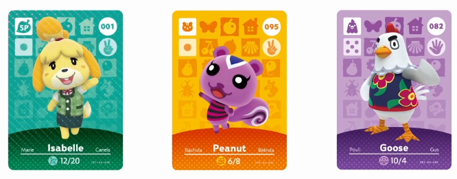 Animal Crossing: Happy Home Designer amiibo NFC cards Isabelle Peanut Goose