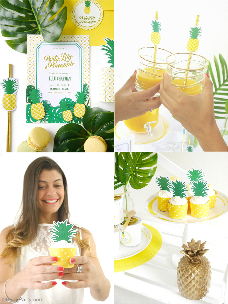 Party like a pineapple a tropical 25th birthday party Ananas dekoration