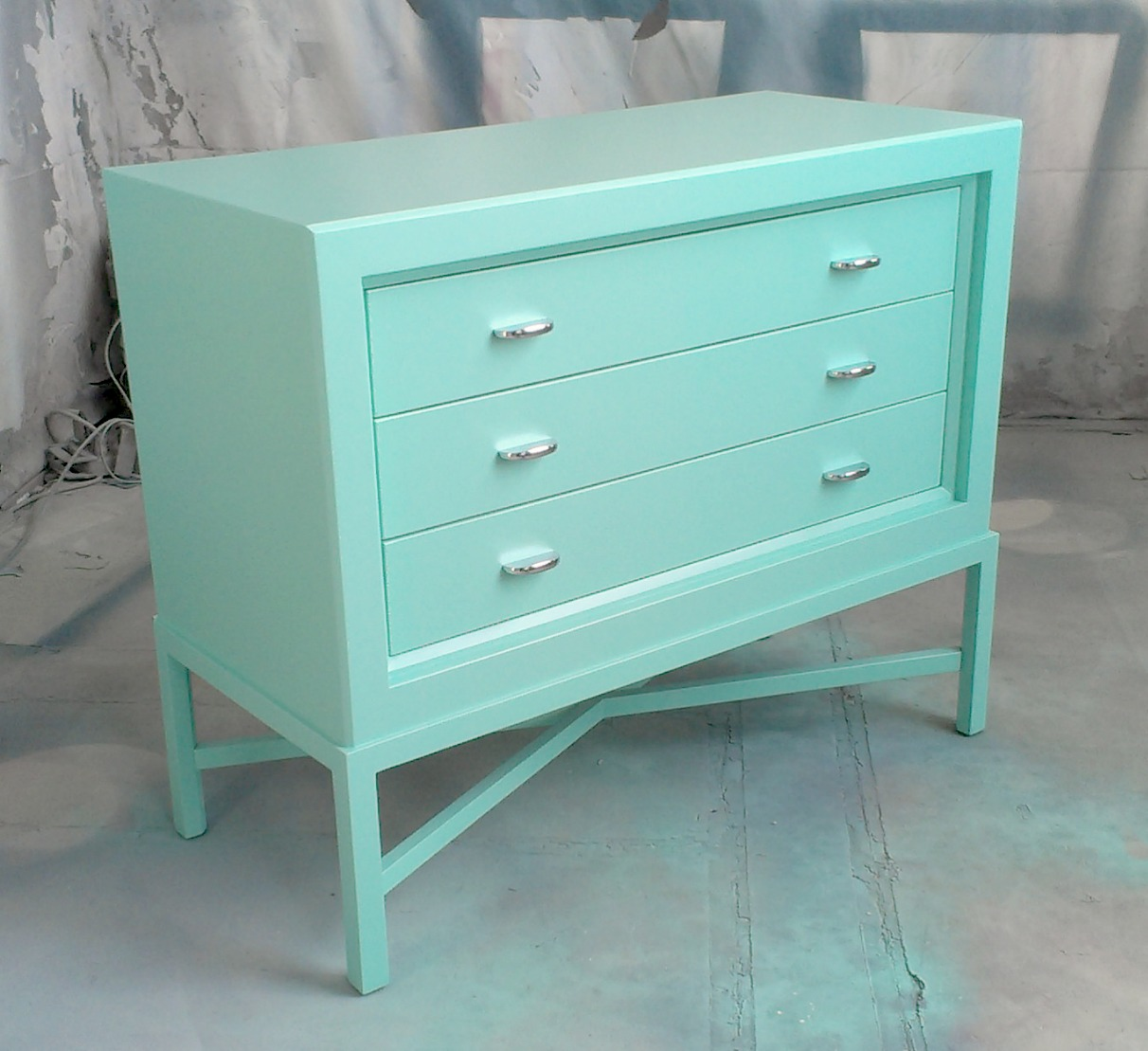 Painted Furniture: Turquoise Chest On Stand