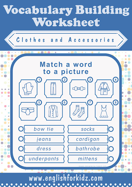Printable clothes and accessories worksheet