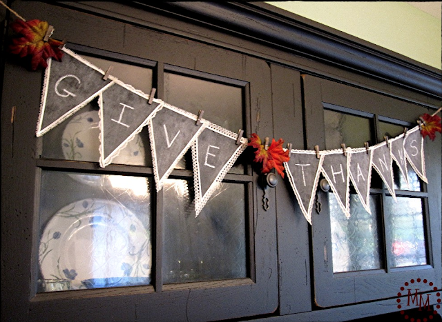 Creative chalkboard bunting, with ever changing messages by The Scrap Shoppe, featured on Funky Junk Interiors