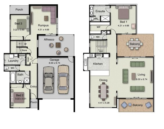 Small 3 4 Bathroom Floor Plans: Duplex Small House Floor Plans With 3 Or 4 Bedrooms