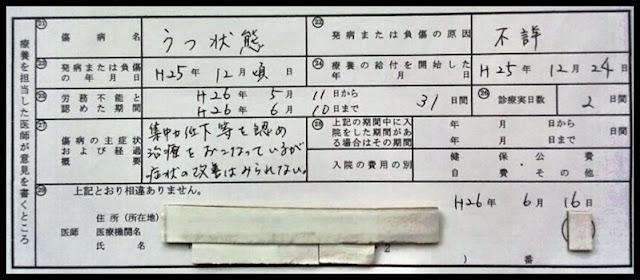 傷病手当金請求書の医師記入欄