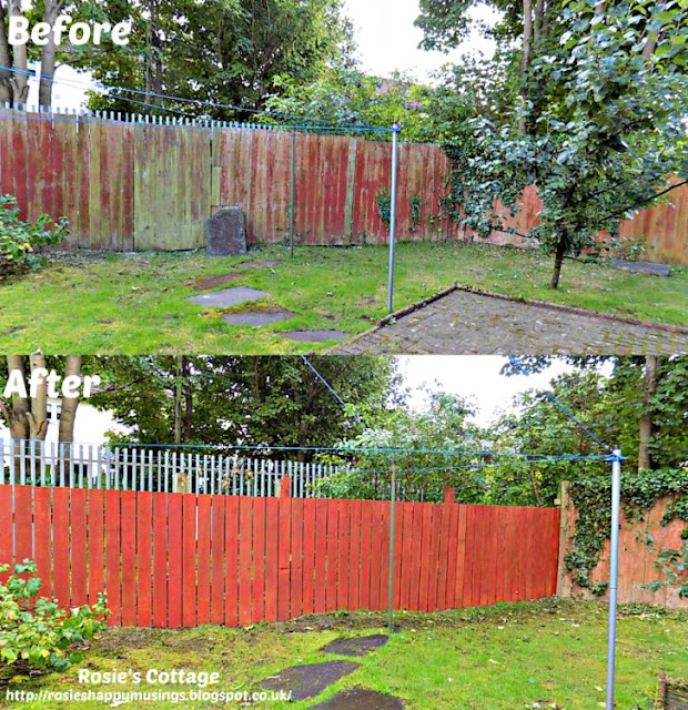 Before and after photos of the back garden fence