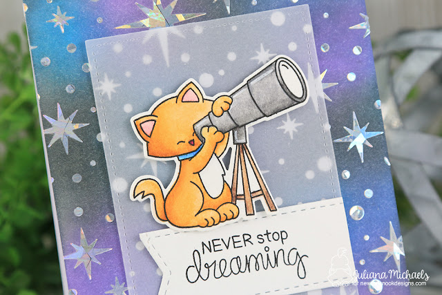 Never Stop Dreaming Card with Galaxy Background by Juliana Michaels featuring Therm O Web Deco Foil, Therm O Web Transfer Gel, Newton's Nook Designs Cosmic Newtons Stamp Set, Starfield Stencils and Ranger Ink Distress Oxide