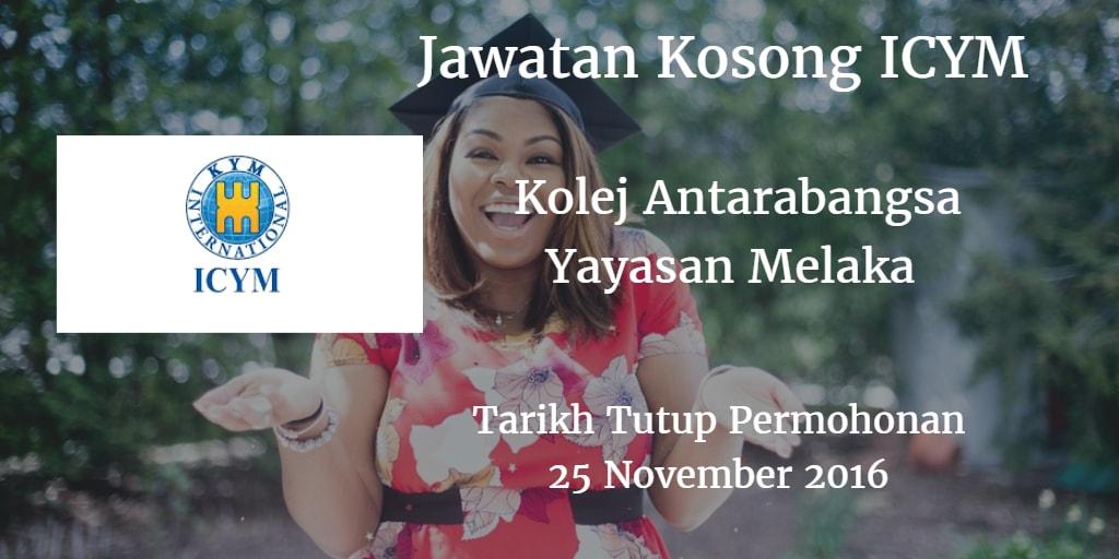 Jawatan Kosong ICYM 25 November 2016