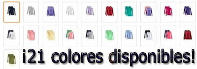 camisetas colores disponibles