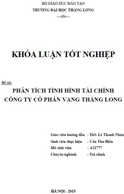 Phân tích tình hình tài chính Công ty Cổ phần Vang Thăng Long