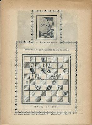 Problema de mate de Antonio Romero Ríos publicado en el boletín de la Semifinal del Campeonato de España 1960