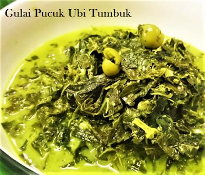 Makanan Melayu Pekanbaru Riau Gulai Ikan Salai Pucuk Ubi Tumbuk Kincong