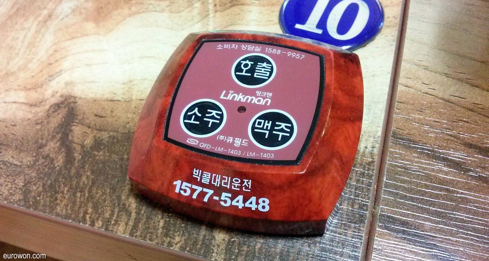 Mando para llamar al camarero en Corea del Sur