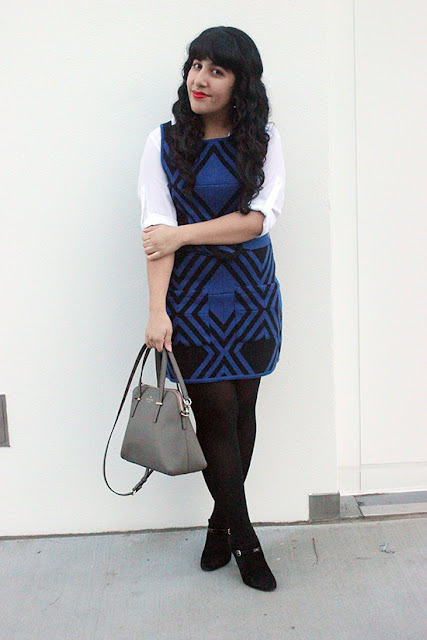 Alice+Olivia Blue Wool Sweater Dress Winter Office Outfit