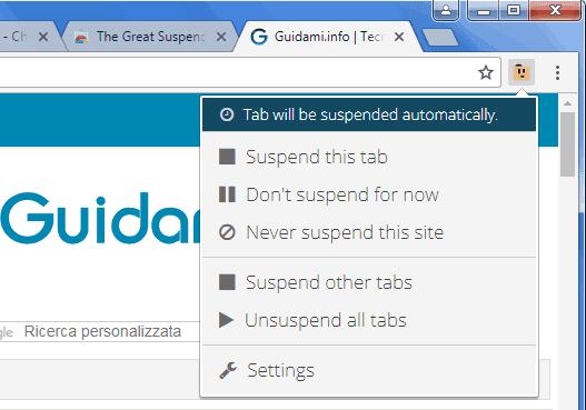 The Great Suspender estensione Chrome menu opzioni